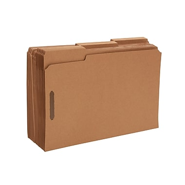 Staples Reinforced Fastener Folders, Legal, Kraft, 50/Box