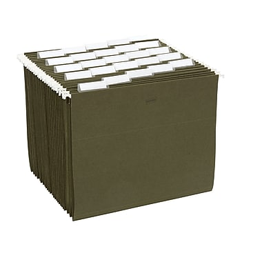 Staples® Recycled Hanging File Folders, 5-Tab, Letter, Standard Green, 25/Box (566912)