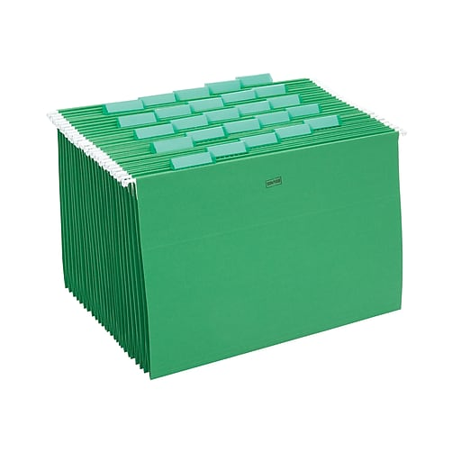 Staples Hanging File Folders, 5-Tab, Legal Size, Green, 25/Box (163972)