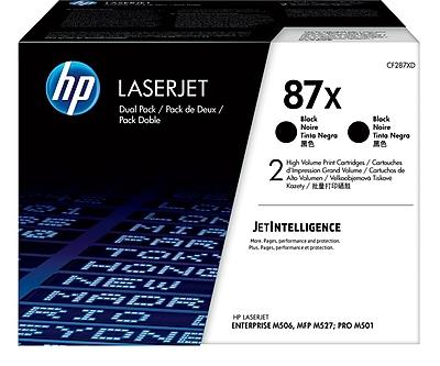 HP 87X Black Toner Cartridges (CF287XD), High Yield, 2/Pack