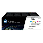 HP 201X C/M/Y Color Toner Cartridges (CF253XM), High Yield, 3/Pack