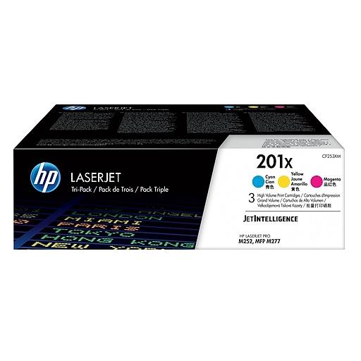 HP 201X C/M/Y Color Toner Cartridges (CF253XM), High Yield, 3/Pack