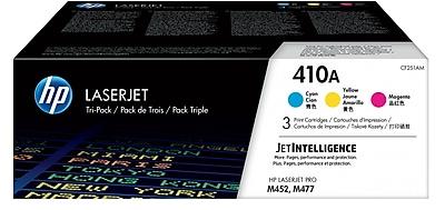 HP 410A C/M/Y Color Toner Cartridges (CF251AM), 3/Pack