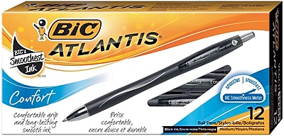 BIC Atlantis Comfort Retractable Ballpoint Pens, Medium Point, Black Ink, Dozen (VCGC11BK)