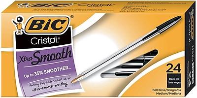 Bic® Cristal Xtra Smooth Ballpoint Pen, 1.0 mm, Black Ink/Clear Barrel, 24/Pk