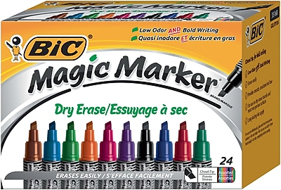 BIC Magic Marker, Dry Erase Chisel Tip, Assorted Colors, 24/Pack (GELITP241AST)