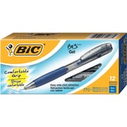 BIC® BU3 Retractable Gel-Ink Pens, Medium Point, Blue, Dozen