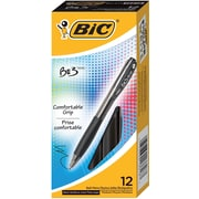 BIC® BU3 Ballpoint Retractable Pens, Medium, Black, 12/Pack