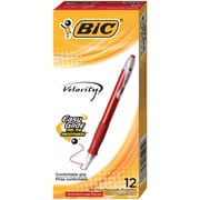 BIC® Velocity® Retractable Ballpoint Pen, Medium Point, Red, Dozen