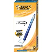 BIC® Velocity® Retractable Ballpoint Pens, Medium Point, Blue, Dozen