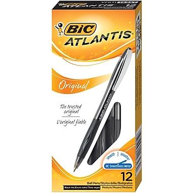 BIC® Atlantis® Retractable Ballpoint Pens, Medium Point, Black, Dozen