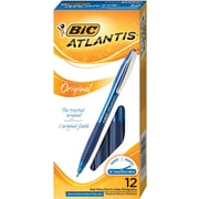 BIC® Atlantis® Retractable Ballpoint Pens, Medium Point, Blue, Dozen