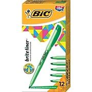 BIC Brite Liner Stick Highlighter, Chisel Tip, Green, Dozen (65556/BL11GR)