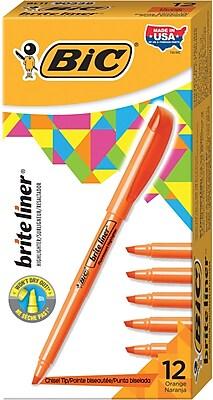 BIC® Brite Liner® Highlighters, Orange, Dozen