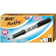 BIC® Mark-it® Retractable Permanent Markers, Fine Tip, Black, Dozen