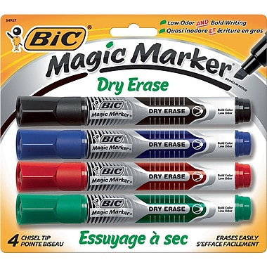 BIC® Magic Marker® Dry-Erase Markers, Tank Style, Assorted Colors, 4/Pack
