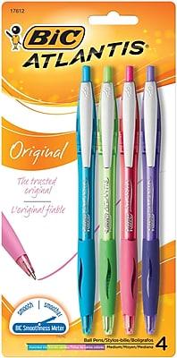 BIC® Atlantis® Original Retractable Ballpoint Pen, Medium, Assorted, 4/Pack