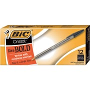 BIC® Cristal® Ballpoint Stick Pens, Bold Point, Black, Dozen