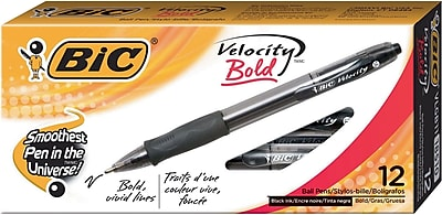 BIC Velocity Bold Retractable Ball Pen Bold Point Black 4-Pack TOTAL NEW