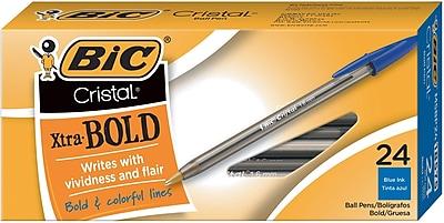 BIC Cristal Ballpoint Stick Pens, Bold Point, Blue Ink, 24/Box ( MSBP241-BLU)