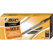 BIC® Cristal® Ballpoint Stick Pens, Bold Point, Black, 24/Box
