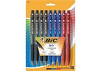 BIC® BU3 Retractable Ballpoint Pens, Medium 1.0mm, Assorted, 18/Pack