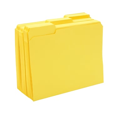 Staples® Colored File Folders w/ Reinforced Tabs, Letter, 3 Tab, Yellow, 100/Box