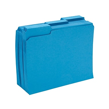 Staples® Colored File Folders w/ Reinforced Tabs, Letter, 3 Tab, Blue, 100/Box