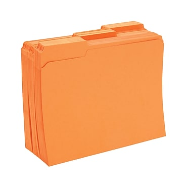 Staples® Colored File Folders w/ Reinforced Tabs, Letter, 3 Tab, Orange, 100/Box