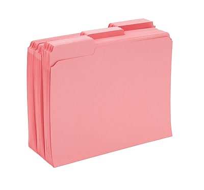 Staples® Colored File Folders w/ Reinforced Tabs, Letter, 3 Tab, Pink, 100/Box