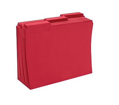 Staples® Colored File Folders w/ Reinforced Tabs, Letter, 3 Tab, Red, 100/Box