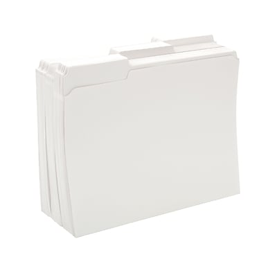 Staples® Colored File Folders w/ Reinforced Tabs, Letter, 3 Tab, White, 100/Box