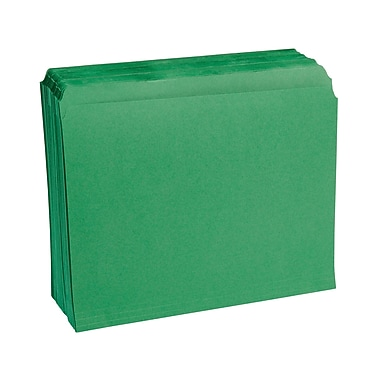 Staples® Colored Top-Tab File Folders, Single Tab, Green, Letter Size, 100/Pack