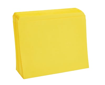 Staples® Colored Top-Tab File Folders, Single Tab, Yellow, Letter Size, 100/Pack