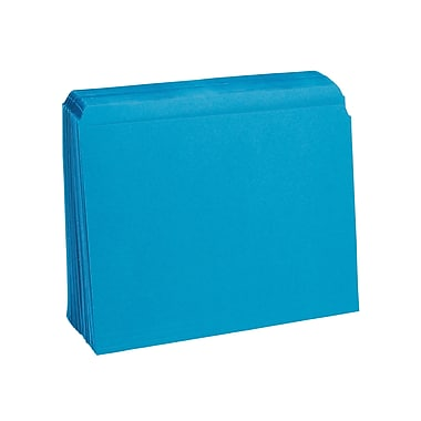 Staples® Colored Top-Tab File Folders, Single Tab, Blue, Letter Size, 100/Pack