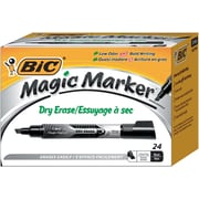 BIC Magic Marker Brand Dry Erase Marker, Tank, Chisel, Black, 24/Pk by