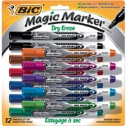 BIC® Magic Marker® Brand Dry Erase Marker, Pocket, Fine, Assorted, 12/Pk