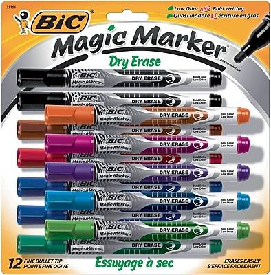 BIC Magic Marker, Dry Erase Fine Bullet Tip, Assorted Colors, 12/Pack (GELIPP121AST)