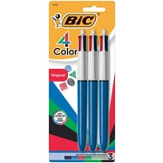 BIC® 4-Color Retractable Ballpoint Pens, 1 mm Medium, Assorted, Blue Barrel, 3/Pack (14540)