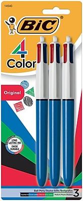 BIC® 4-Color Retractable Ballpoint Pens, 1 mm Medium, Assorted, Blue Barrel, 3/Pack (14540)