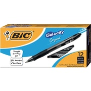 BIC® Gel-ocity® Retractable Gel-Ink Roller Pens, Medium Point, Black, Dozen
