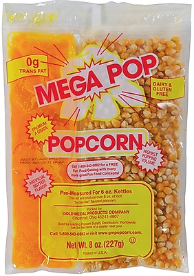 Gold Medal Mega Pop® Popcorn & Oil Kit, 8 oz.Bag, 36/Pack