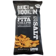 Baked In Brooklyn Sea Salt Pita Chips, 8 oz, 12/Ct