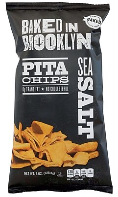 Baked In Brooklyn Sea Salt Pita Chips, 8 oz, 12 ct