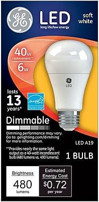 GE LED 6 Watt Soft White A19 (67500)