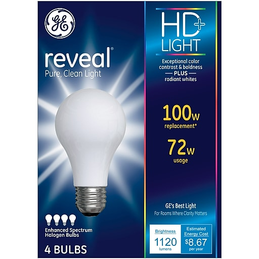 GE Reveal® 72 Watt Frost A19 Halogen (67774)