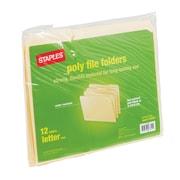 Staples Poly Manila File Folders, Letter, 3 Tab, 12/Pack (36049-CC)