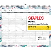 "2017-2018 Staples® 14 7/8"" x 11 7/8"" Medium Academic Monthly Wall Calendar, Watercolor Chevron, 12 Months (27107-17)"