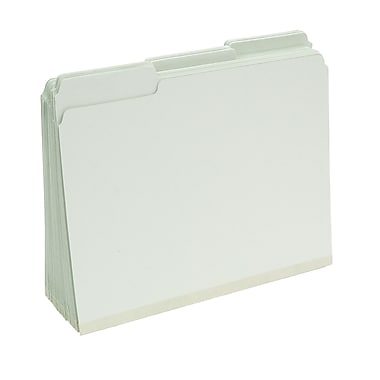 Staples® Top Tab Pressboard File Folders, Letter Size, Light Green