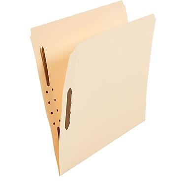 Staples Single-Tab Reinforced Fastener Folders, Letter, Manila, 50/Box